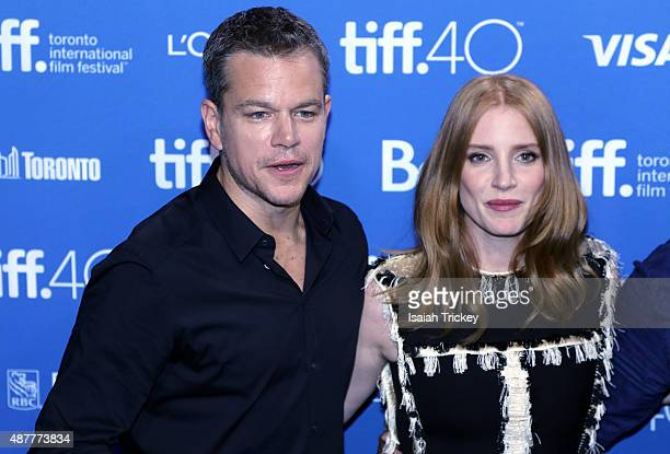 Actors Matt Damon and Jessica Chastain attend the 'The Martian' press conference at the 2015 Toronto International Film Festival at TIFF Bell...