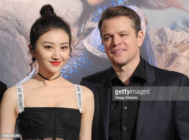 Actors Matt Damon and Jing Tian arrive at the premiere of Universal Pictures' 'The Great Wall' at TCL Chinese Theatre IMAX on February 15 2017 in...