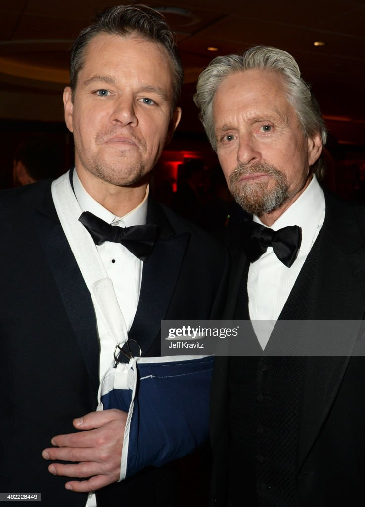 Actors Matt Damon (L) and Michael Douglas attend HBO's Official Golden Globe Awards After Party at The Beverly Hilton Hotel on January 12, 2014 in Beverly Hills, California.