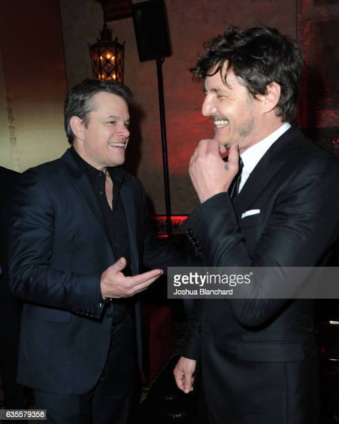 Actors Matt Damon and Pedro Pascal attend the after party premiere of Universal Pictures' 'The Great Wall' After Party on February 15 2017 in...