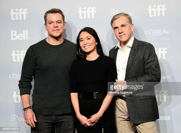 Actors Matt Damon Hong Chau and Christoph Waltz at the 'Downsizing' press conference during the 2017 Toronto International Film Festival held at TIFF...