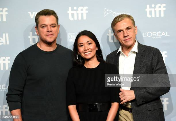 Actors Matt Damon Hong Chau and Christoph Waltz attend the Downsizing press conference during the 2017 Toronto International Film Festival at TIFF...