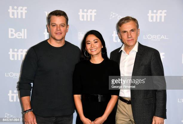 Actors Matt Damon Hong Chau and Christoph Waltz attend the 'Downsizing' press conference during the 2017 Toronto International Film Festival at TIFF...