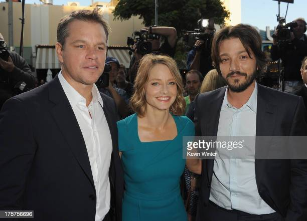 Actors Matt Damon Jodie Foster and Diego Luna attend the premiere of TriStar Pictures' Elysium at Regency Village Theatre on August 7 2013 in...