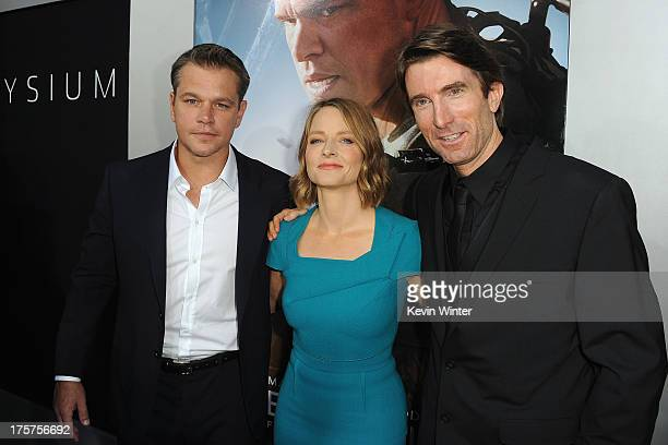 Actors Matt Damon Jodie Foster and Sharlto Copley attend the premiere of TriStar Pictures' Elysium at Regency Village Theatre on August 7 2013 in...