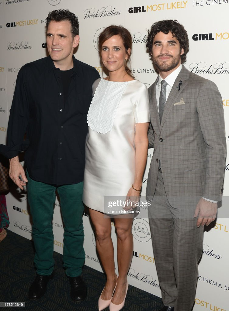 Actors Matt Dillon, Kristen Wiig and Darren Criss attend the screening of Lionsgate and Roadside Attractions' 'Girl Most Likely' hosted by The Cinema Society & Brooks Brothers at Landmark's Sunshine Cinema on July 15, 2013 in New York City.