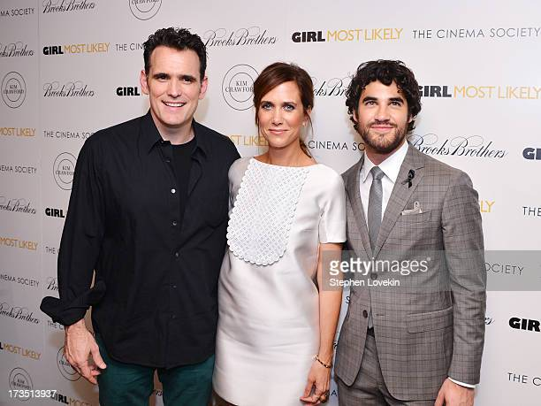 Actors Matt Dillon Kristen Wiig and Darren Criss attend the screening of Lionsgate and Roadside Attractions' 'Girl Most Likely' hosted by The Cinema...