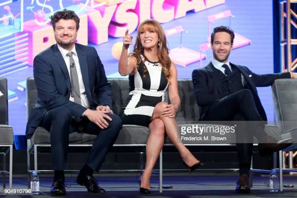 Actors Matt Jones Jane Seymour and Chris Diamantopoulos of 'Let's Get Physical' speak onstage during the POPTV portion of the 2018 Winter Television...