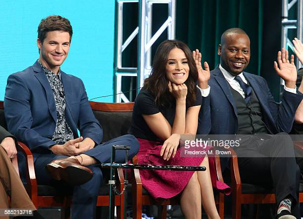 Actors Matt Lanter Abigail Spencer and Malcolm Barrett speak onstage at the 'Timeless' panel discussion during the NBCUniversal portion of the 2016...