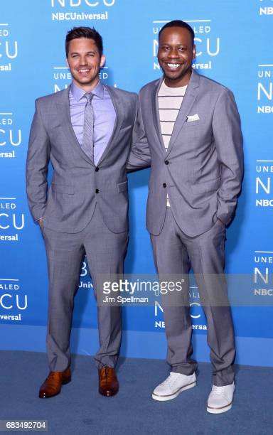 Actors Matt Lanter and Malcolm Barrett attend the 2017 NBCUniversal Upfront at Radio City Music Hall on May 15 2017 in New York City
