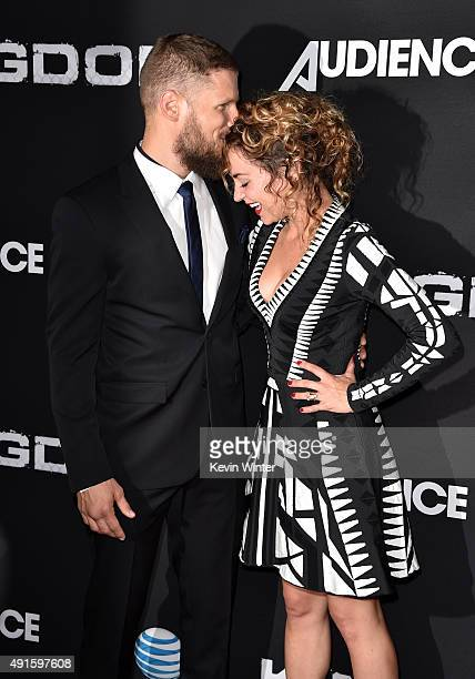 Actors Matt Lauria and Michelle Armstrong attend the premiere of DIRECTV's Kingdom Season 2 at SilverScreen Theater at the Pacific Design Center on...