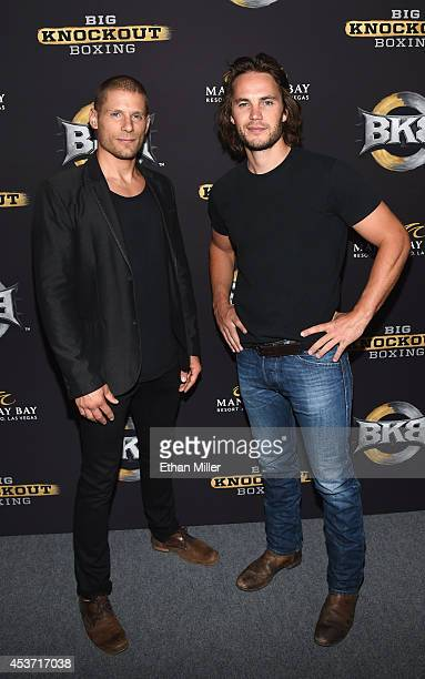 Actors Matt Lauria and Taylor Kitsch attend the inaugural event for BKB Big Knockout Boxing at the Mandalay Bay Events Center on August 16 2014 in...