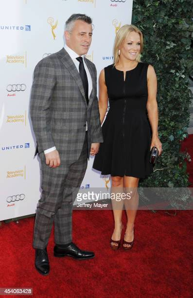 Actors Matt LeBlanc and Andrea Anders arrive at the Television Academy's 66th Emmy Awards Performance Nominee Reception at the Pacific Design Center...