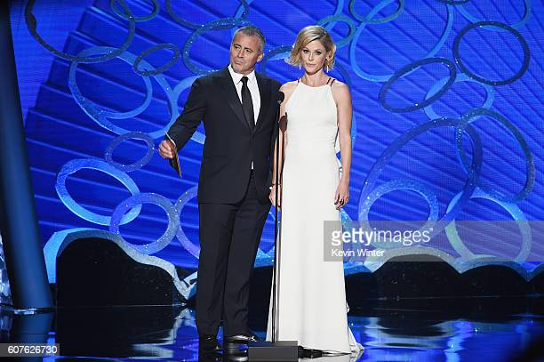 Actors Matt LeBlanc and Julie Bowen speak onstage during the 68th Annual Primetime Emmy Awards at Microsoft Theater on September 18 2016 in Los...