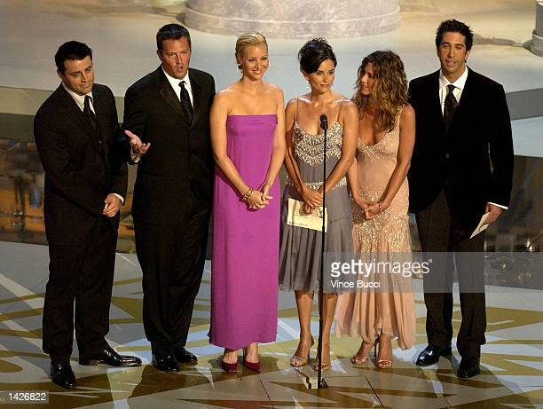 Actors Matt LeBlanc, Matthew Perry, Lisa Kudrow, Courteney Cox Arquette, Jennifer Aniston and David Schwimmer present an award during the 54th Annual...