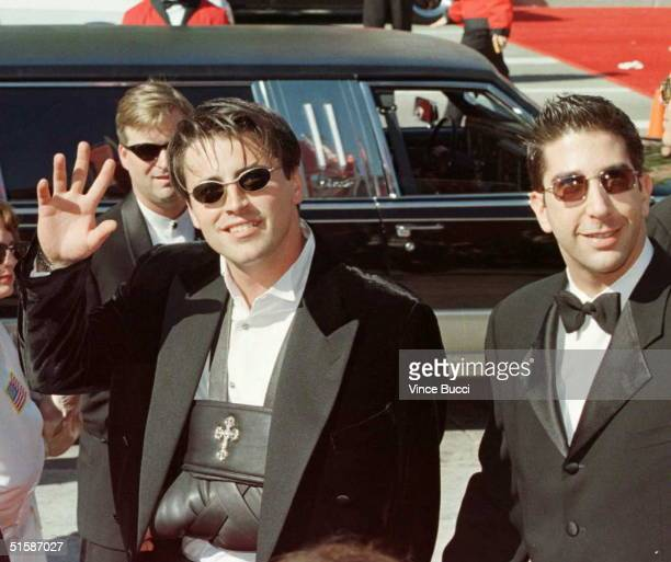 Actors Matt LeBlanc with a broken arm and David Schwimmer the stars of 'Friends' arrive for the 48th Annual Emmy Awards 08 September in Pasadena...