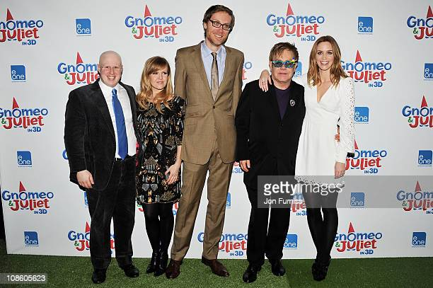 Actors Matt Lucas Ashley Jensen Stephen Merchant EP Sir Elton John and Emily Blunt attend the Gnomeo Juliet premiere at Odeon Leicester Square on...