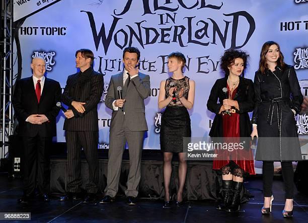 Actors Matt Lucas Crispin Glover Michael Sheen Mia Wasikowska Helena Bonham Carter and Anne Hathaway appear onstage at Walt Disney Pictures Buena...