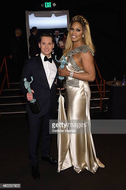 Actors Matt McGorry and Laverne Cox winners of the award for Outstanding Performance by an Ensemble in a Comedy Series for 'Orange is the New Black'...