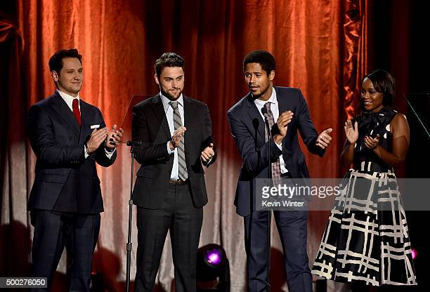 Actors Matt McGorry Jack Falahee Alfred Enoch and Aja Naomi King speak onstage during TrevorLIVE LA 2015 at Hollywood Palladium on December 6 2015 in...