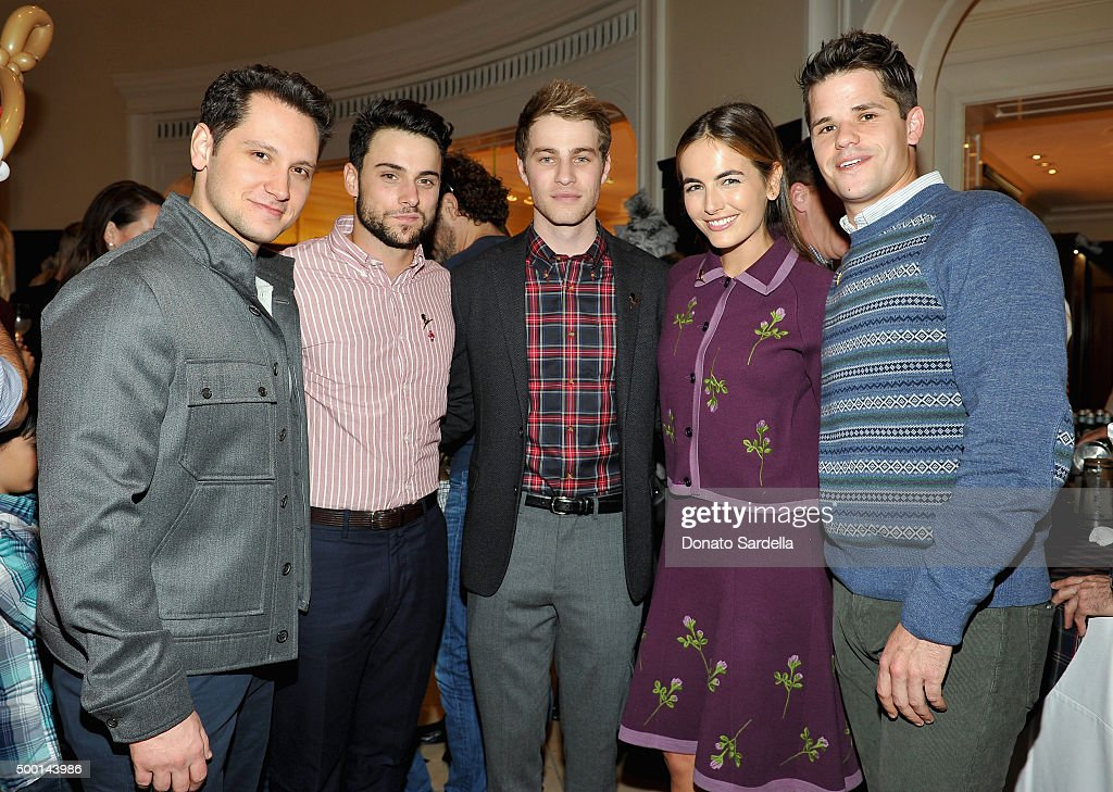 Actors Matt McGorry, Jack Falahee, Cameron Fuller, Camilla Belle and Max Carver attend the Brooks Brothers holiday party with St Jude Children's Research Hospital at Brooks Brothers on Rodeo Drive on December 5, 2015 in Beverly Hills, California.