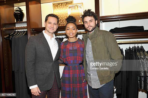 Actors Matt McGorry Yara Shahidi and Jack Falahee attend Brooks Brothers holiday celebration with St Jude Children's Research Hospital on December 3...