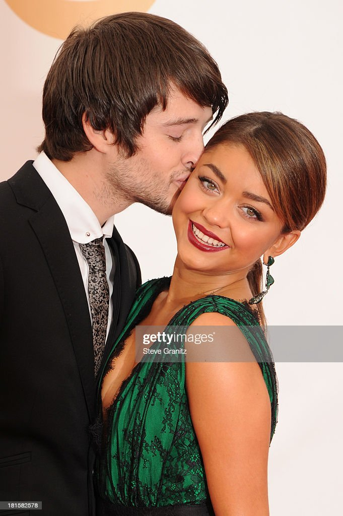 Actors Matt Prokop and Sarah Hyland arrive at the 65th Annual Primetime Emmy Awards held at Nokia Theatre L.A. Live on September 22, 2013 in Los Angeles, California.