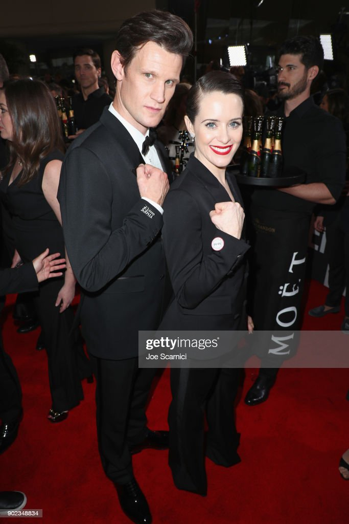 Actors Matt Smith (L) and Claire Foy celebrate The 75th Annual Golden Globe Awards with Moet & Chandon at The Beverly Hilton Hotel on January 7, 2018 in Beverly Hills, California.