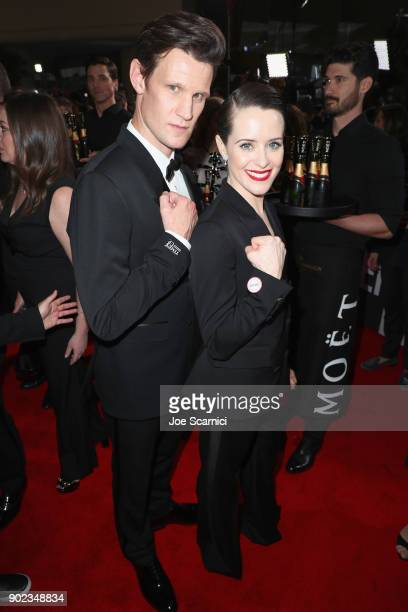 Actors Matt Smith and Claire Foy celebrate The 75th Annual Golden Globe Awards with Moet Chandon at The Beverly Hilton Hotel on January 7 2018 in...