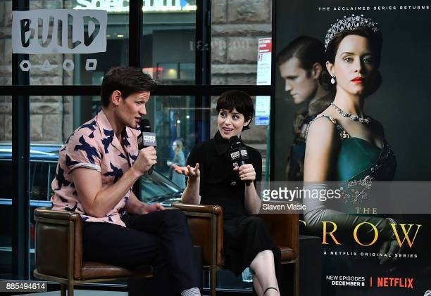 Actors Matt Smith and Claire Foy visit Build to discuss The Crown at Build Studio on December 4 2017 in New York City