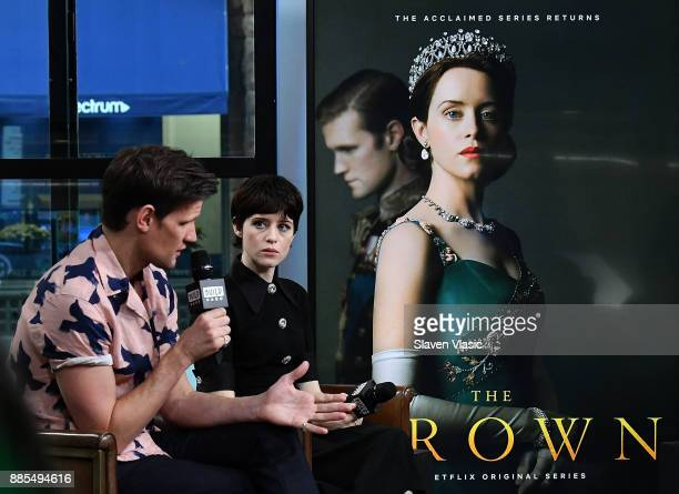 Actors Matt Smith and Claire Foy visit Build to discuss 'The Crown' at Build Studio on December 4 2017 in New York City