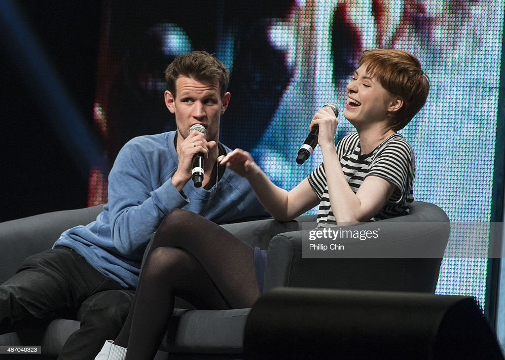 Actors Matt Smith and Karen Gillan share their experiences on 'Dr Who' in the 'Spotlight on Matt Smith and Karen Gillan' panel discussion at the Stampede Corral during the Calgary Expo/ Comic and Entratainment Expo on April 26, 2014 in Calgary, Canada.
