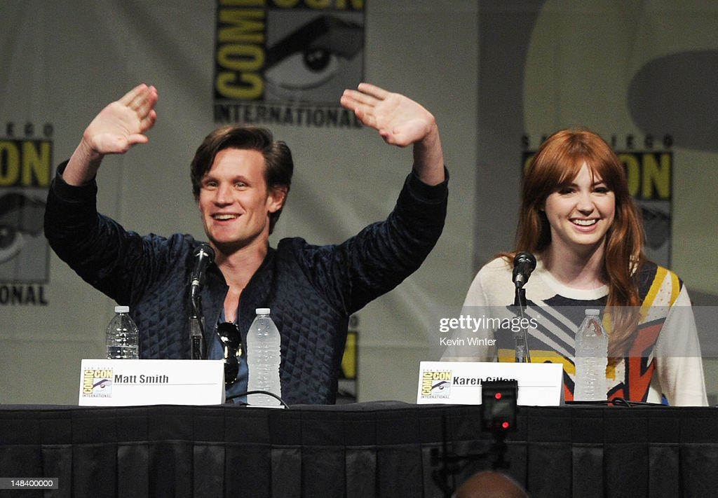 Actors Matt Smith and Karen Gillan speak at BBC America's 'Doctor Who' Panel during Comic-Con International 2012 at San Diego Convention Center on July 15, 2012 in San Diego, California.