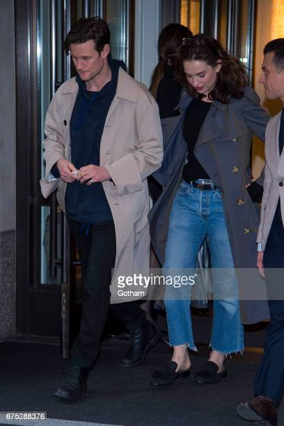 Actors Matt Smith and Lily James are seen in the Upper East Side on April 30 2017 in New York City
