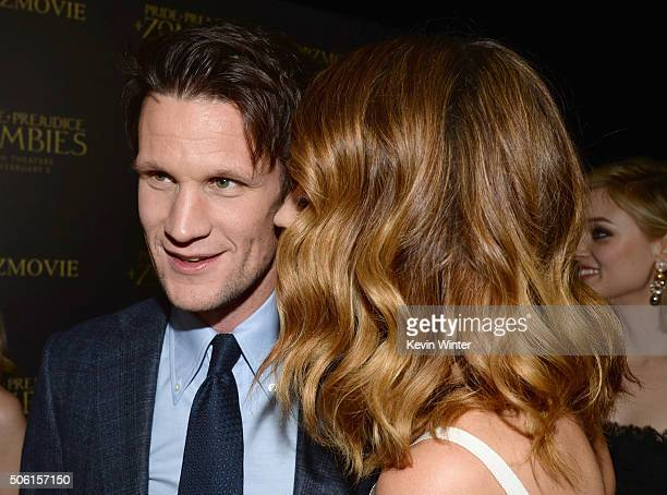 Actors Matt Smith and Lily James attend the premiere of Screen Gems' 'Pride and Prejudice and Zombies' on January 21 2016 in Los Angeles California