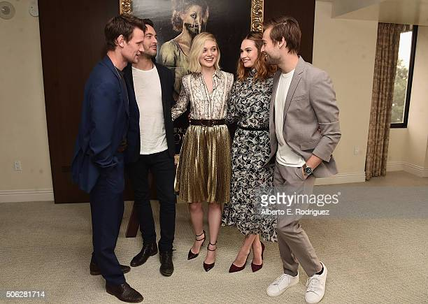 Actors Matt Smith Jack Huston Bella Heathcote Lily James and Douglas Booth attend Screen Gem's 'Pride and Prejudice and Zombies' photo call at The...