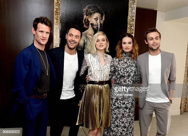 Actors Matt Smith Jack Huston Bella Heathcote Lily James and Douglas Booth pose at the Screen Gems' 'Pride and Prejudice and Zombies' photo call at...