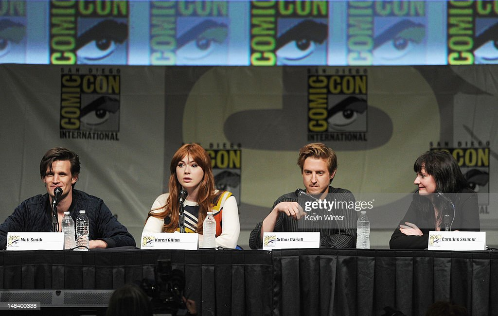 Actors Matt Smith, Karen Gillan, Arthur Darvill and producer Caroline Skinner speak at BBC America's 'Doctor Who' Panel during Comic-Con International 2012 at San Diego Convention Center on July 15, 2012 in San Diego, California.