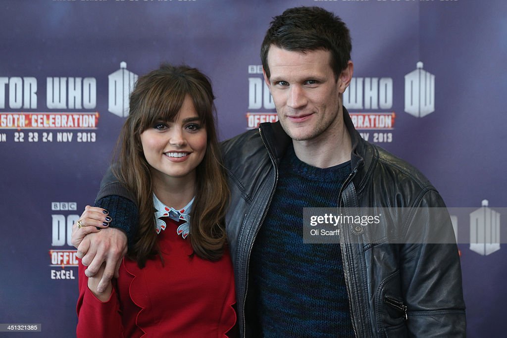 Actors Matt Smith, who plays 'Doctor Who', and Jenna Coleman, who plays 'Clara Oswald', in the science fiction series 'Doctor Who' pose for a photograph at the 'Doctor Who 50th Celebration' event in the ExCeL centre on November 22, 2013 in London, England. The sold-out three day event in the ExCeL London convention centre celebrates 50 years of the show which has seen 11 actors play the role of Doctor Who and receives a worldwide cult following.