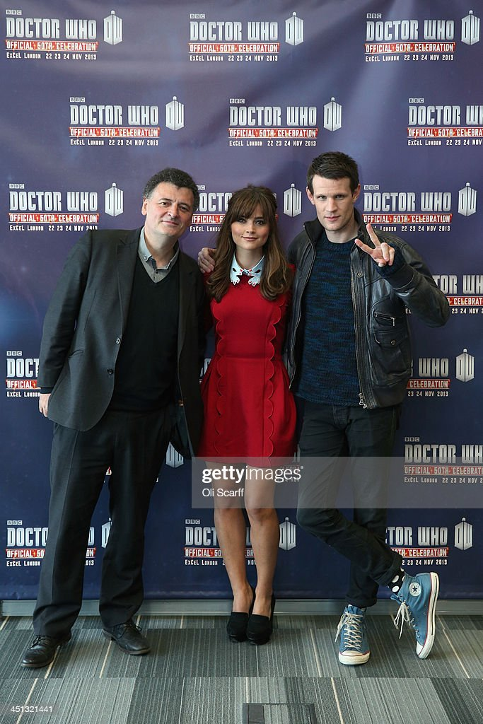 Actors Matt Smith (R), who plays 'Doctor Who', and Jenna Coleman, who plays 'Clara Oswald', in the science fiction series 'Doctor Who' pose for a photograph with Steven Moffat (L), the series writer, at the 'Doctor Who 50th Celebration' event in the ExCeL centre on November 22, 2013 in London, England. The sold-out three day event in the ExCeL London convention centre celebrates 50 years of the show which has seen 11 actors play the role of Doctor Who and receives a worldwide cult following.