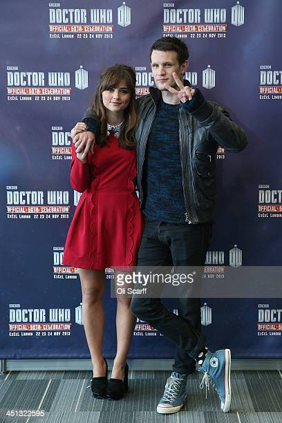 Actors Matt Smith, who plays 'Doctor Who', and Jenna Coleman, who plays 'Clara Oswald', in the science fiction series 'Doctor Who' pose for a...