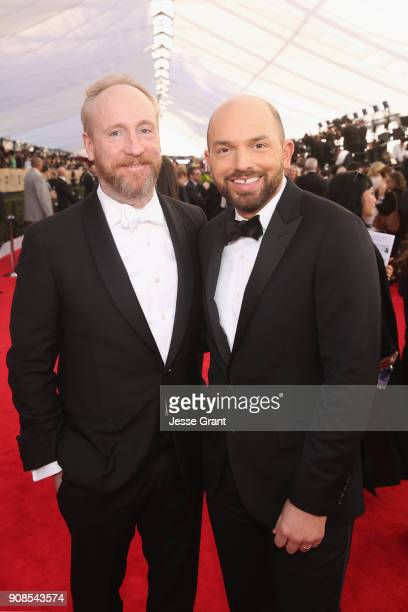 Actors Matt Walsh and Actor Paul Scheer attend the 24th Annual Screen ActorsGuild Awards at The Shrine Auditorium on January 21 2018 in Los Angeles...