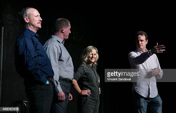 Actors Matt Walsh Ian Roberts Amy Poehler and Matt Besser attend the Upright Citizens Brigade Theatre Sunset grand opening celebration at Upright...