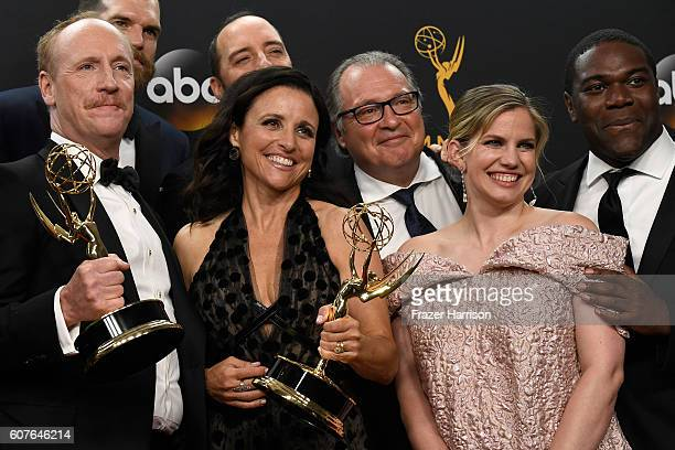 Actors Matt Walsh Julia LouisDreyfus Tony Hale Kevin Dunn Anna Chlumsky and Sam Richardson winners of Best Comedy Series for 'Veep' pose in the press...