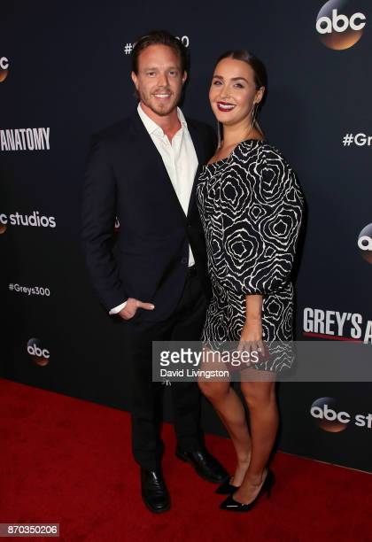Actors Matthew Alan and Camilla Luddington attend the 300th episode celebration for ABC's Grey's Anatomy at TAO Hollywood on November 4 2017 in Los...