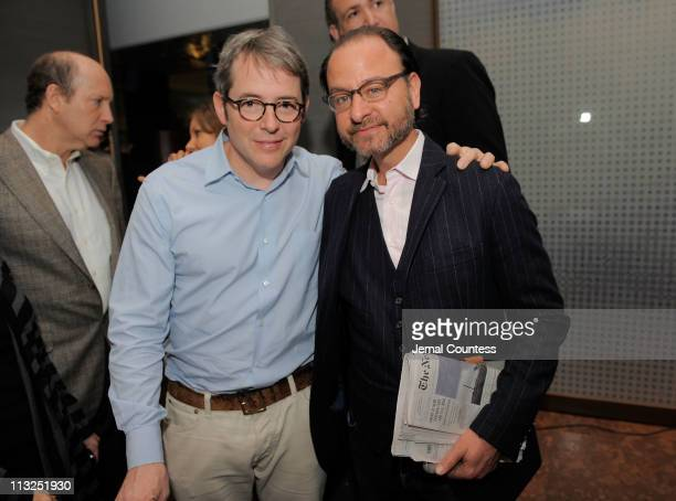 Actors Matthew Broderick and Fisher Stevens attend the TFI Awards Ceremony during the 2011 Tribeca Film Festival at Riverpark on April 28 2011 in New...