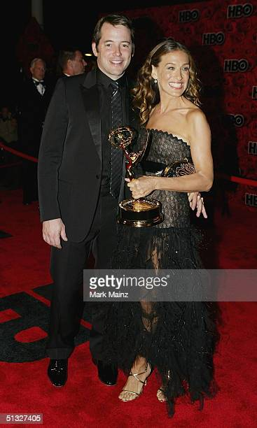 Actors Matthew Broderick and his wife Sarah Jessica Parker attend HBO's Post Emmy Party at the Pacific Design Centre on September 19 2004 in Los...