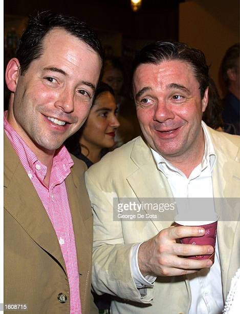 """Actors Matthew Broderick and Nathan Lane attend a rainy openning night of """"The Seagull"""" August 12, 2001 at the Delacorte Theatre in New York City''s..."""