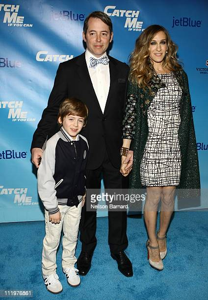 Actors Matthew Broderick and Sarah Jessica Parker and son James Wilke Broderick attend the Broadway opening night of Catch Me If You Can at the Neil...