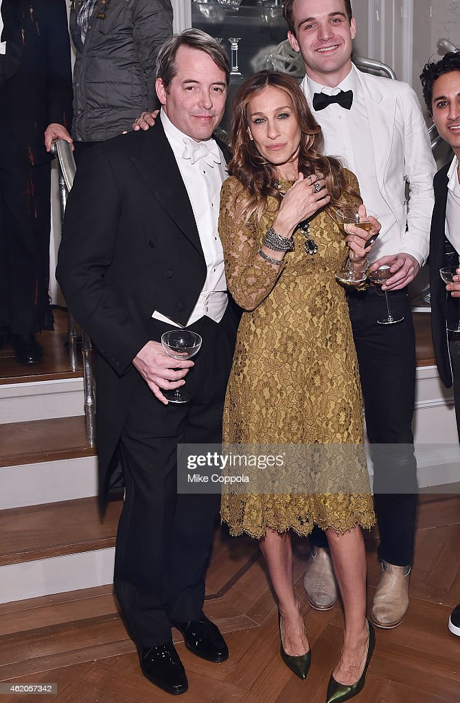 Actors Matthew Broderick (L) and Sarah Jessica Parker attend 'It's Only A Play' Broadway Re-Opening Night at The Bernard B. Jacobs Theatre on January 23, 2015 in New York City.